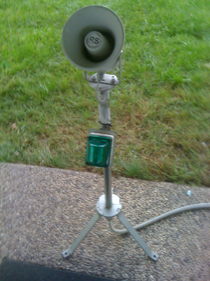 E.P. Progetti microphone with stand and lamp